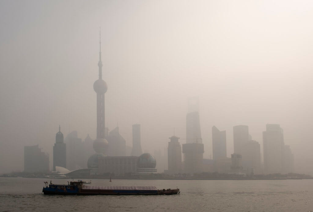 maas - mobility as a service - pollution over shanghai